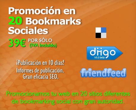 Promoción en 20 Bookmarks Sociales