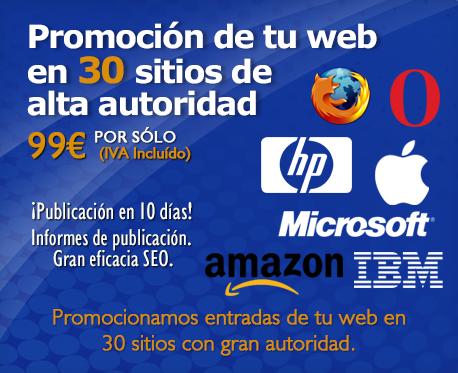 Promoción de tu web en 30 sitios de alta autoridad