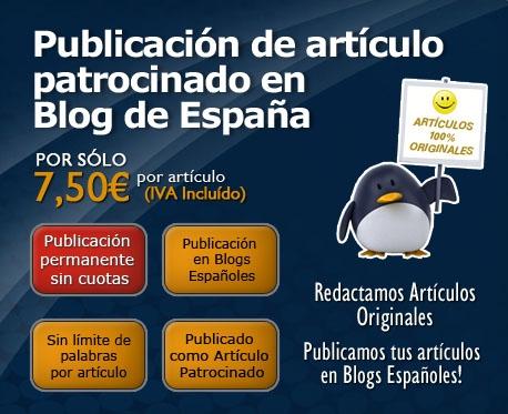 Publicación de artículo patrocinado en blog