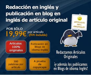 Redacción en inglés y publicación en blog en inglés de artículo original