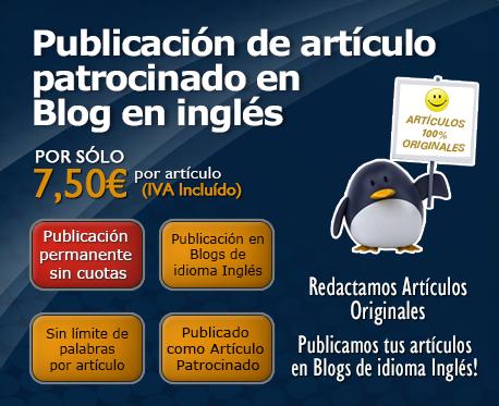 Publicación de artículo patrocinado en Blog en inglés